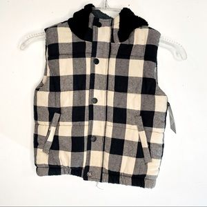 NWT-Art Class B&W Checkered Vest with Black Hoodie